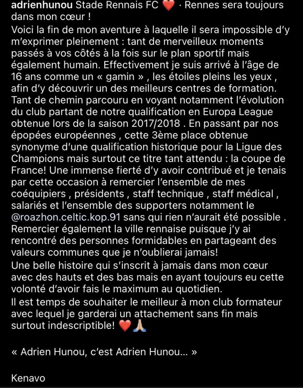 Stade Rennais : Le message plein d'émotions de Hunou à son club formateur ! 3