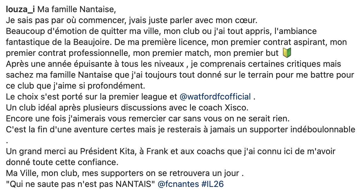 FC Nantes : Sur le départ, Imran Louza a laissé un mot aux supporters ! 3